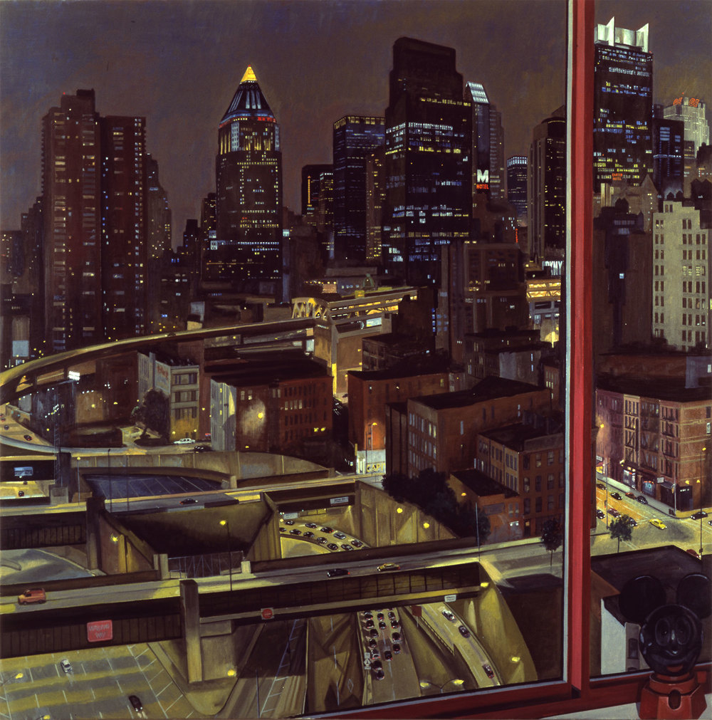 ENTRANCE TO LINCOLN TUNNEL, NIGHT-TIME , 1992 Oil on canvas 72 x 72 inches