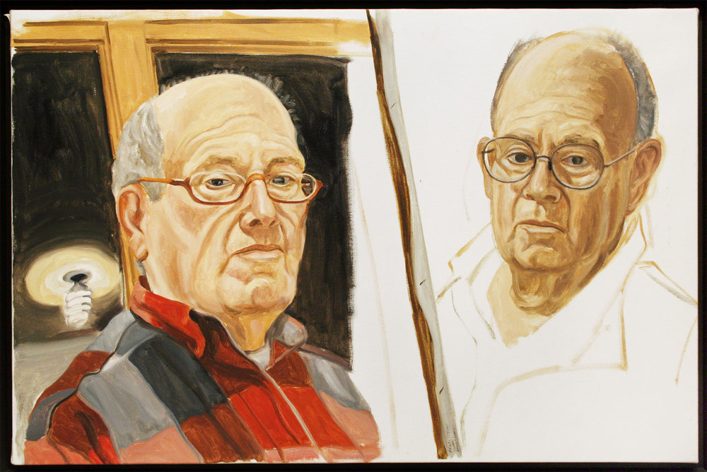 SELF-PORTRAIT: TWO SKETCHES , 2001 Oil on canvas 26 1/2 x 40 inches