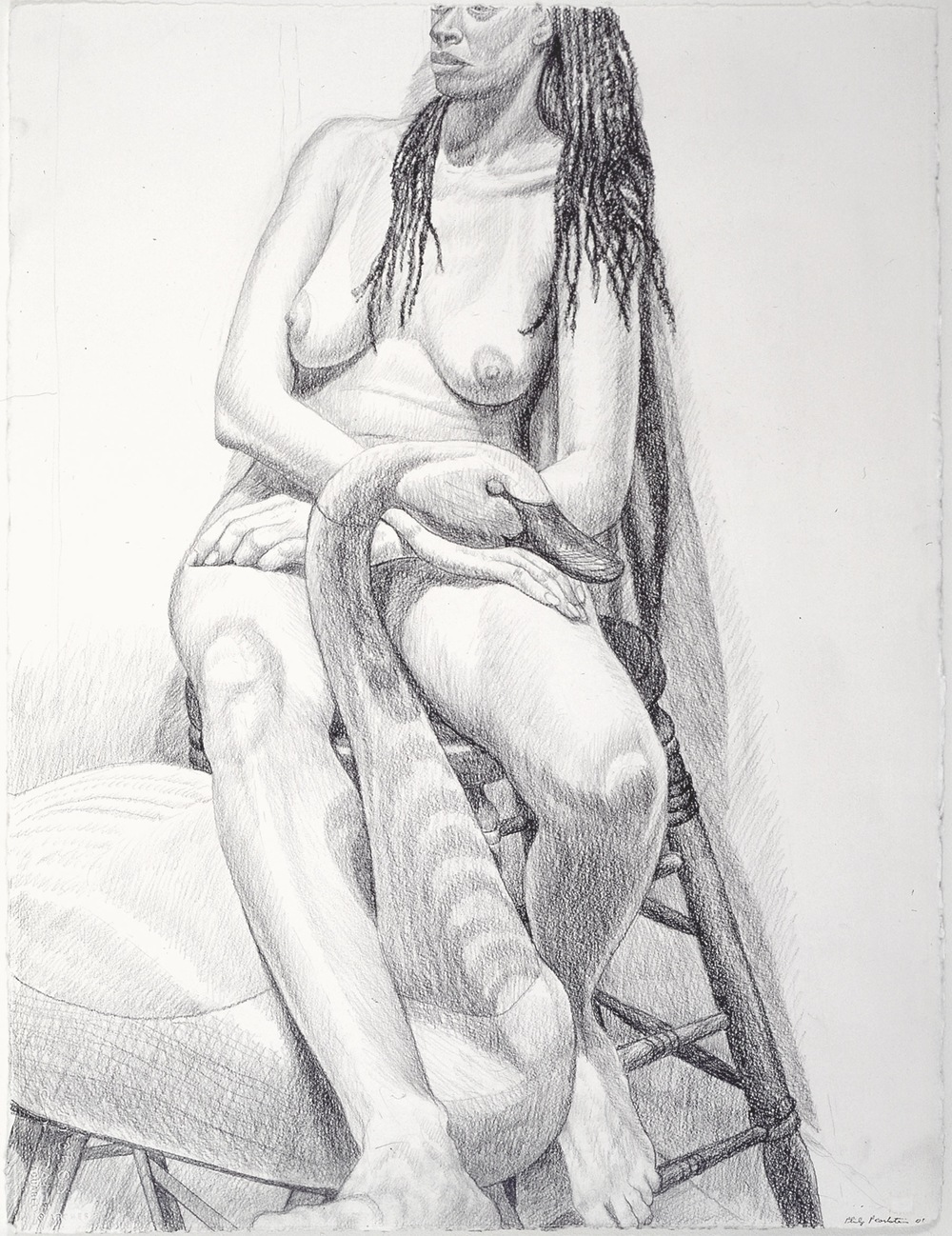 MODEL SITTING ON STOOL WITH SWAN , 2001 Graphite on paper 30 1/2 x 23 inches