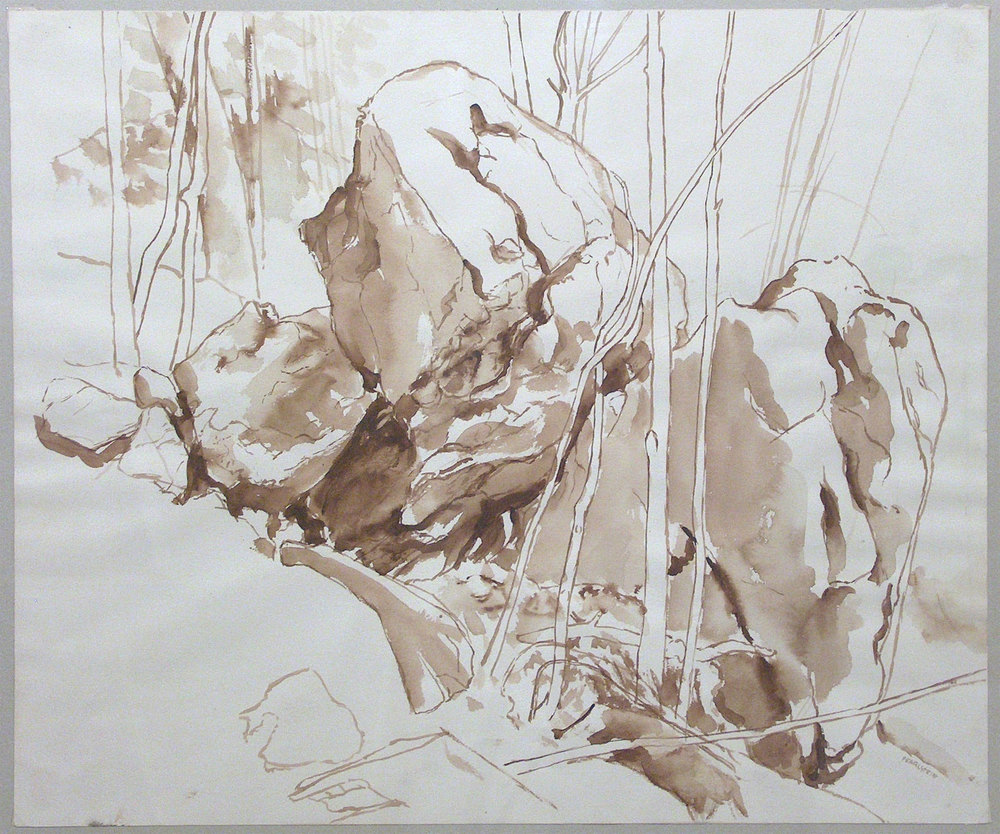Boulder , 1957 Sepia wash on paper 18 x 21 1/2 inches