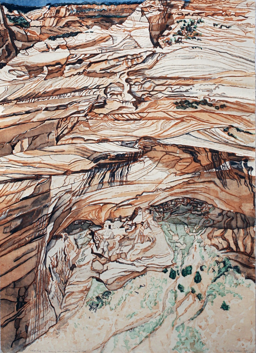 Mummy Cave Ruins at Canyon de Chelly , 1981 Etching and Aquatint on Paper 40 1/2 x 28 7/10 inches