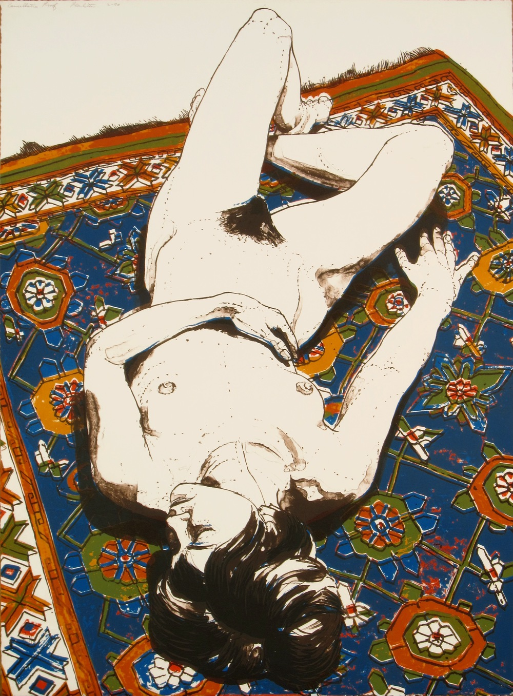 Figure Lying on Rug , 1970 Color lithograph 76.2 x 55.9 cm