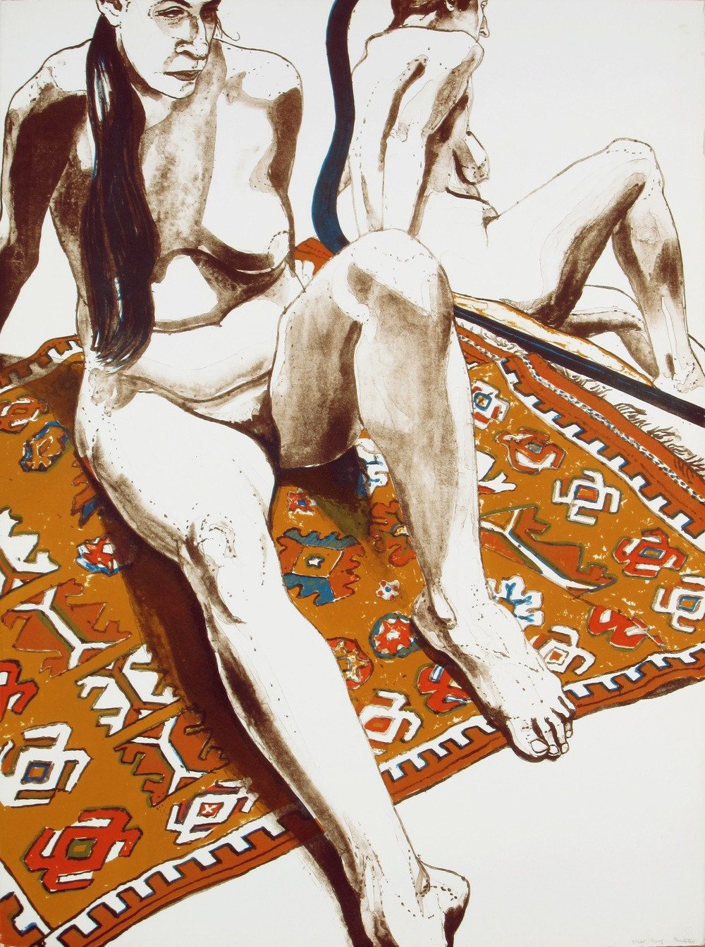 "Figure Seated on Rug with Mirror , 1970 From the portfolio ""Six Lithographs Drawn From Life"" Color lithograph 76.2 x 55.9 cm"