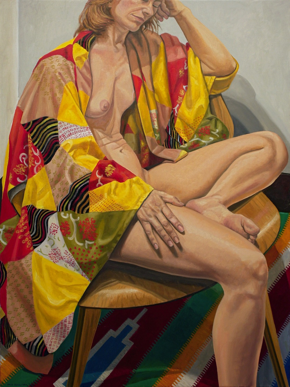 Model on Eames Chair in Patchwork Kimono , 2012  Oil on canvas 48 x 36 inches
