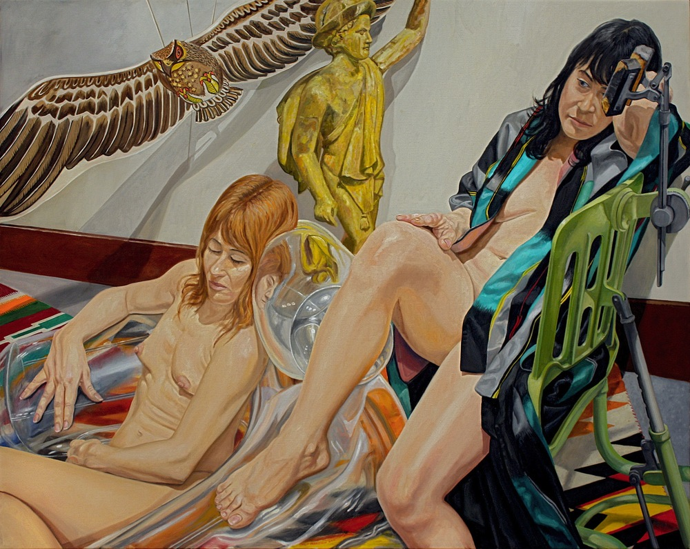 Two Models, Blow-up Chair, Mercury, and Kite , 2012 Oil on canvas 48 x 60 inches