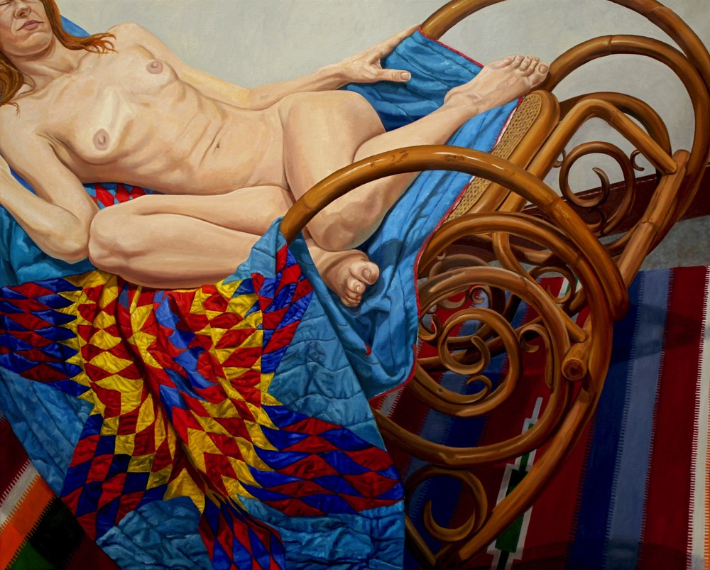 Model on Bentwood Rocker and American Quilt , 2012 Oil on canvas 48 x 60 inches