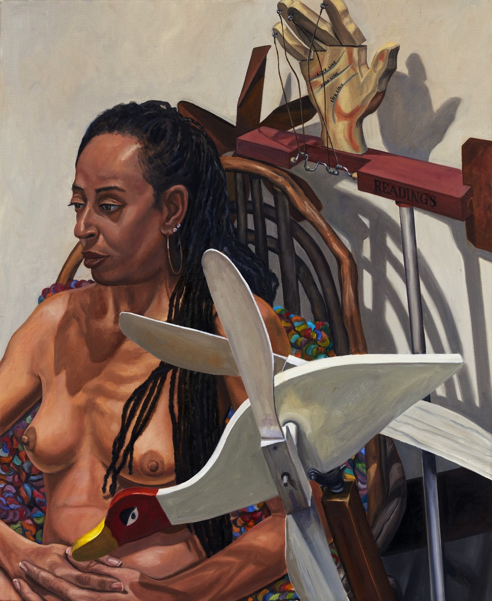 Model with Two Whirligigs , 2011 Oil on canvas 44 x 36 inches