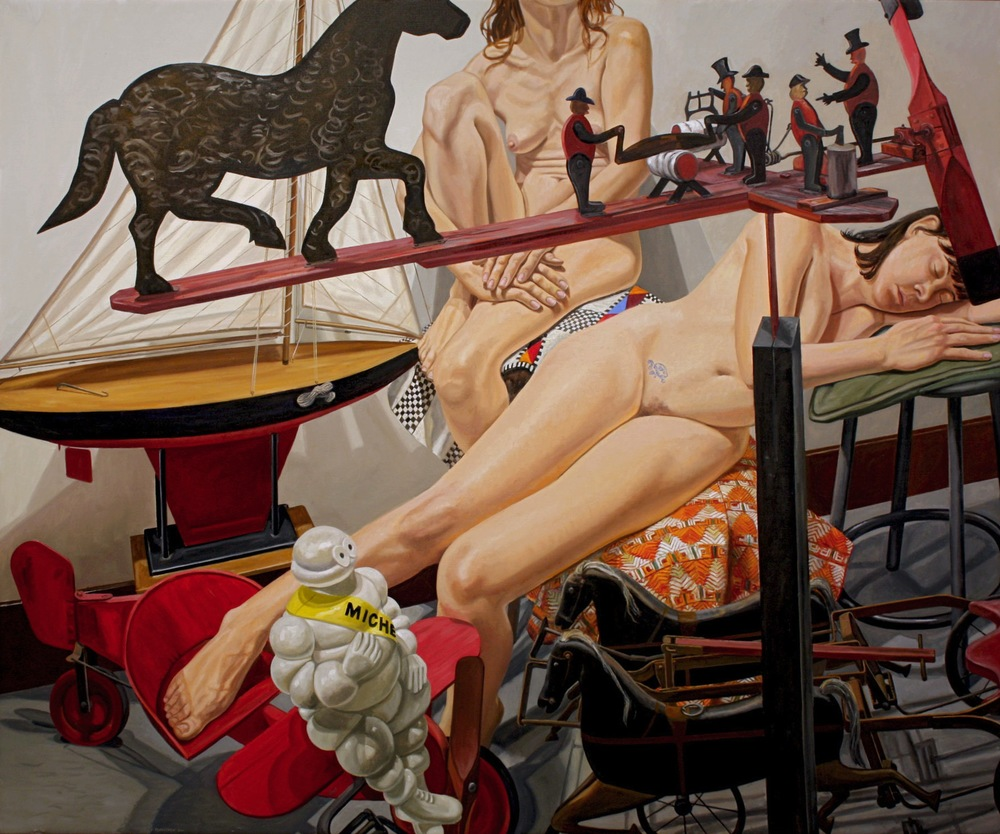 Two Models with Kiddie Car Airplane, Chariot, Whirlygig and Michelin Man , 2011 Oil on canvas 60 x 72 inches