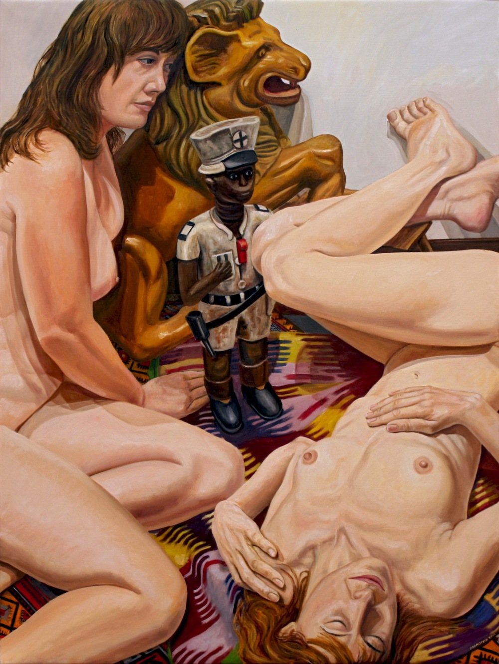 Two Models, African Policeman and Carousel Lion , 2012 Oil on canvas 48 x 36 inches