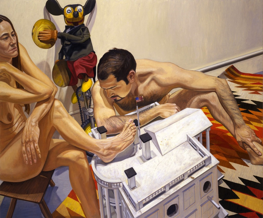 MICKEY MOUSE, WHITE HOUSE AS BIRD HOUSE, MALE AND FEMALE MODELS , 2001 Oil on canvas 60 x 72 inches