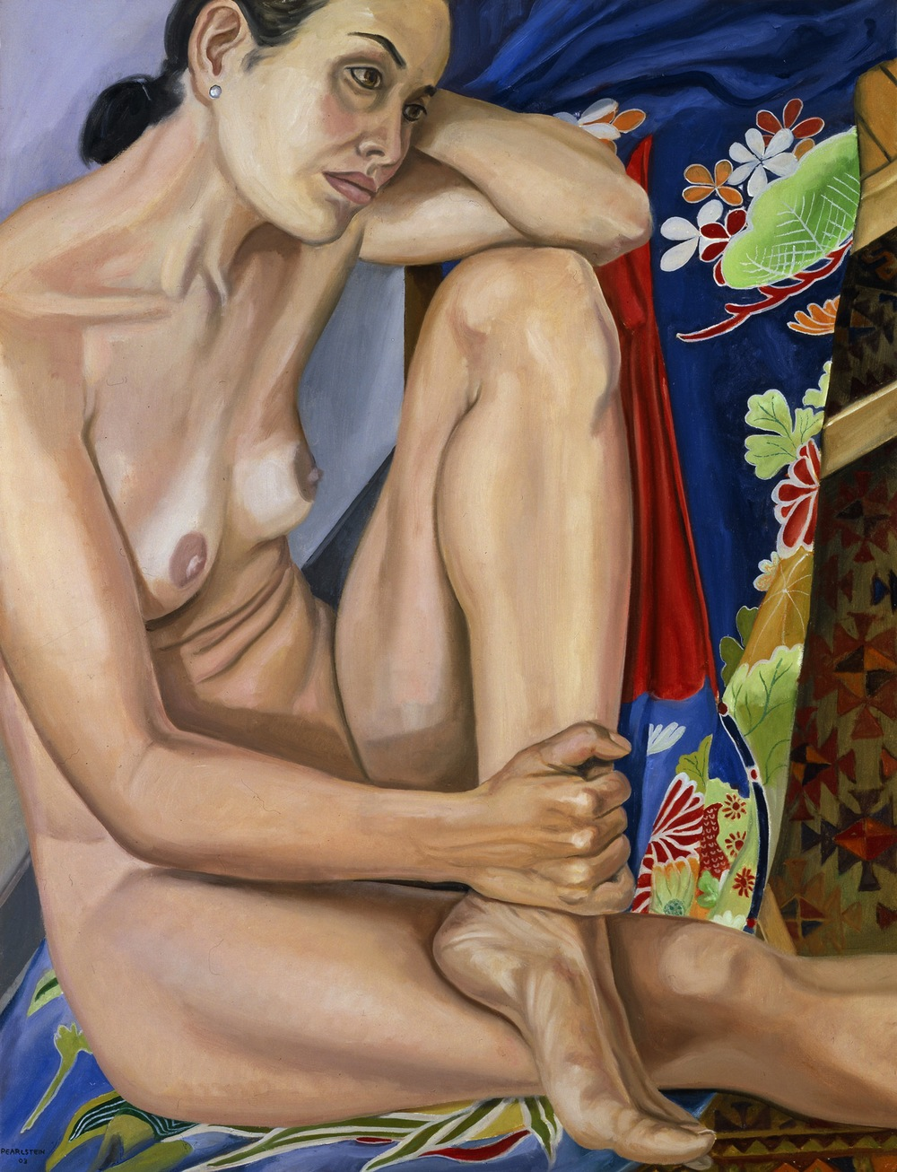MODEL WITH BLUE FLOWERED KIMONO , 2003 Oil on canvas 34 5/8 x 26 5/8 inches