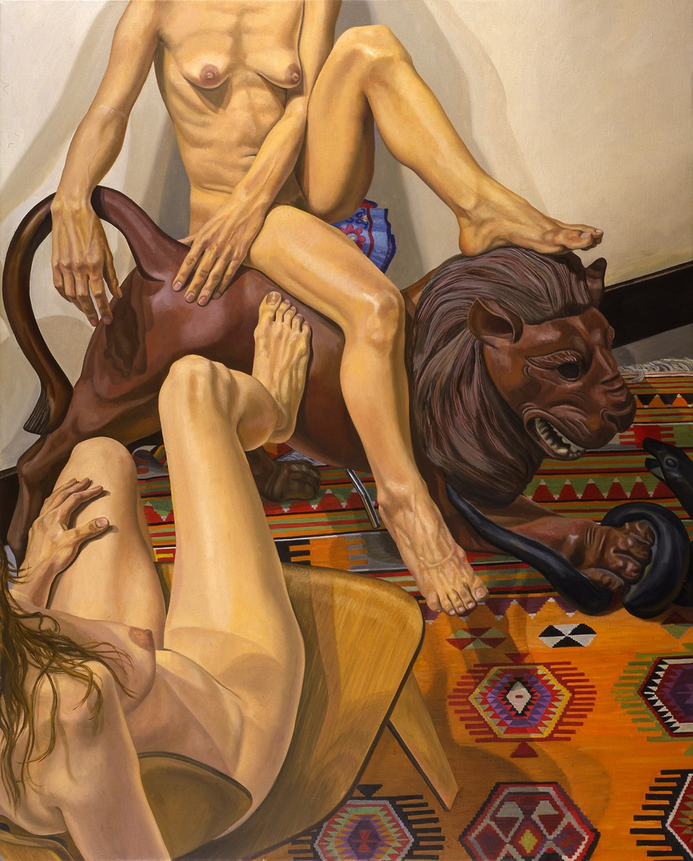 TWO MODELS WITH LUNA PARK LION , 2001 Oil on canvas 60 x 48 inches