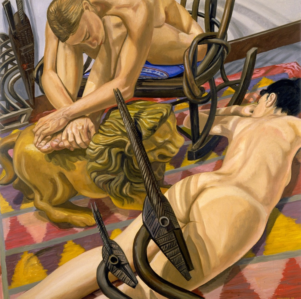 TWO MODELS WITH SUDANESE ANTELOPE, CARROUSEL LION AND IKAT RUG , 2000 Oil on canvas 34 x 34 inches
