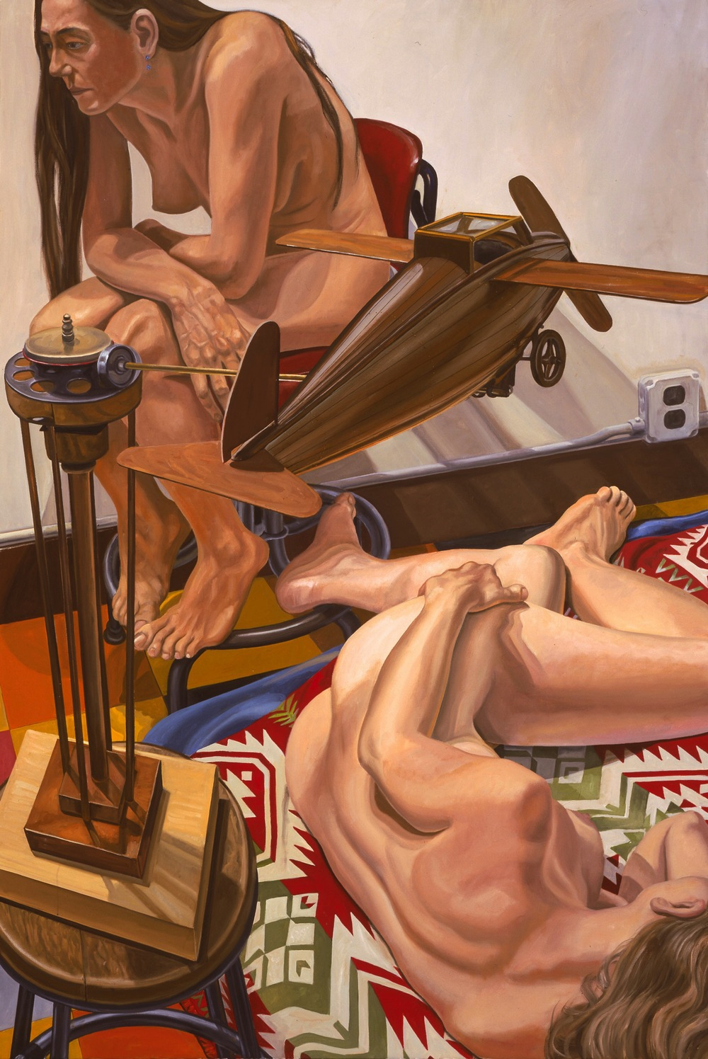MODELS WITH A WOODEN AIRPLANE , 2005 Oil on canvas 72 x 48 inches