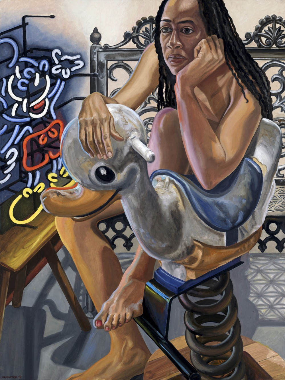 Model, Neon Mickey and Bouncy Duck , 2007 Oil on canvas 48 x 36 inches