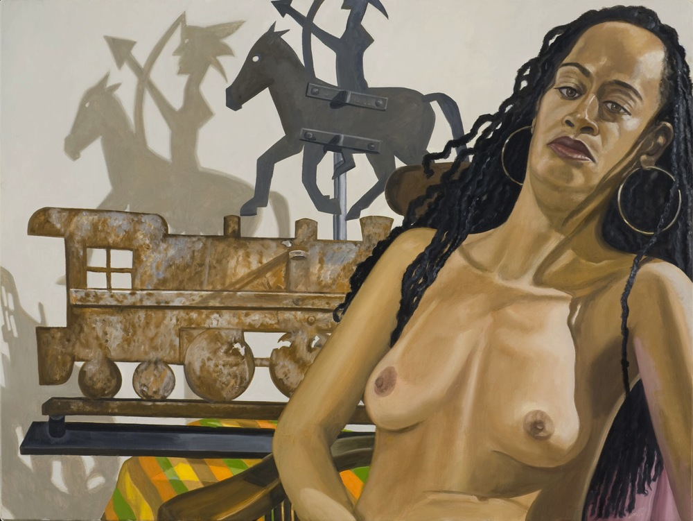 MODEL WITH INDIAN AND LOCOMOTIVE WEATHERVANES , 2007 Oil on canvas 36 x 48 inches