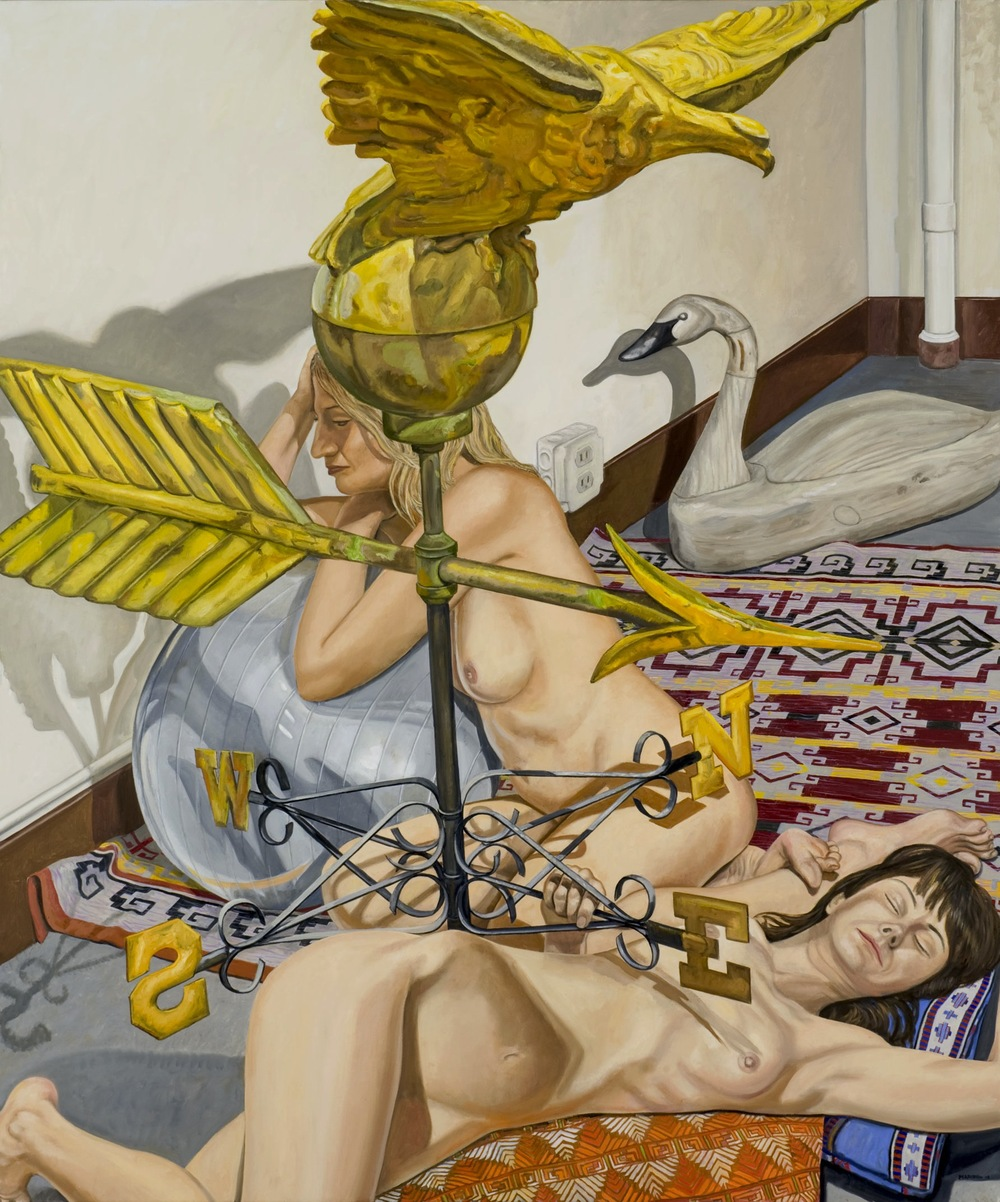 Two Models, Eagle Weathervane and Swan Decoy , 2007 Oil on canvas 72 1/8 x 60 1/8 inches