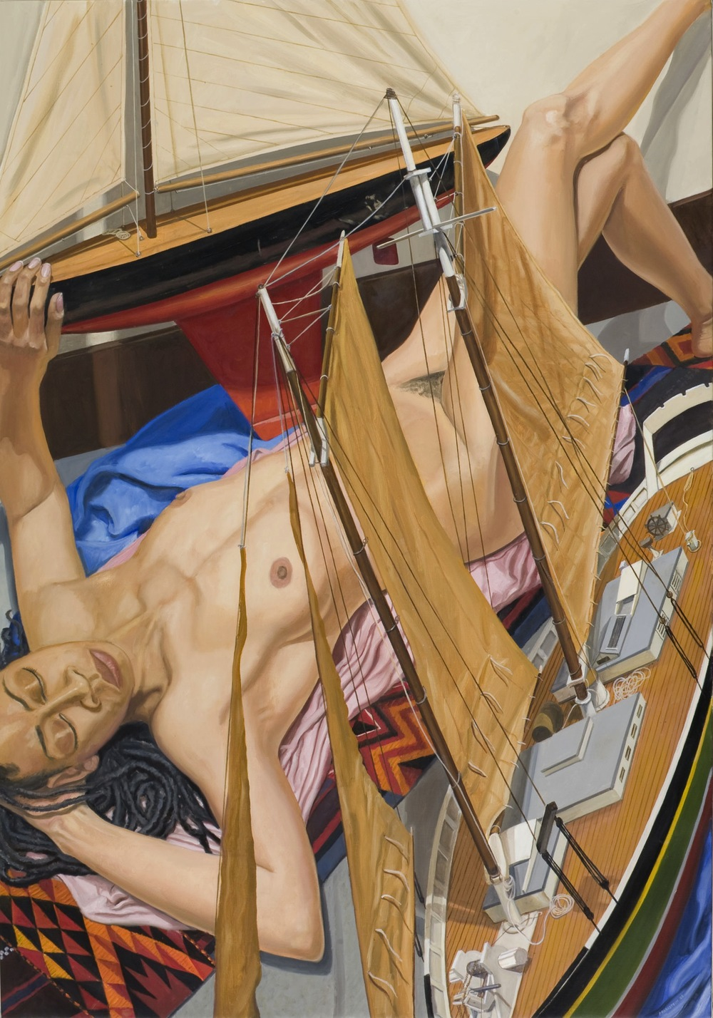 MODEL WITH TWO BOATS , 2008 Oil on canvas 60 1/8 x 42 inches