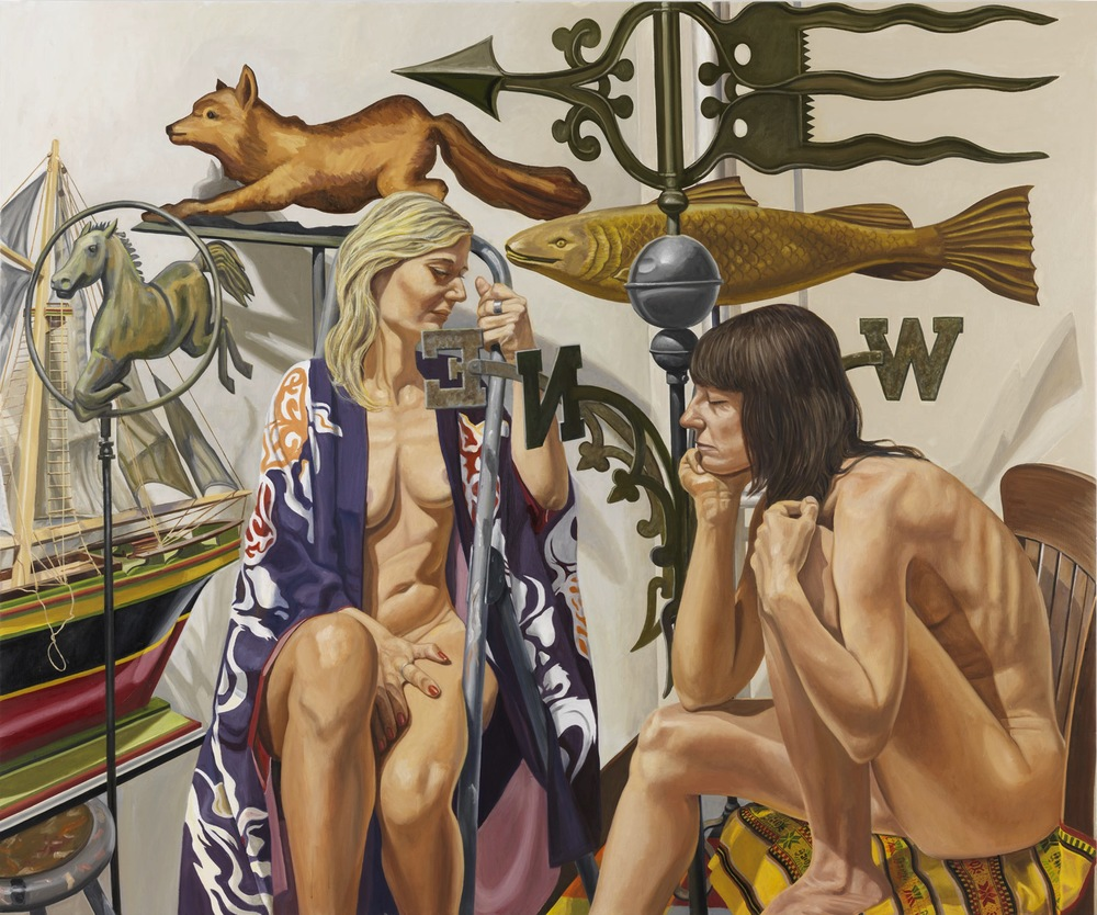 TWO MODELS WITH WEATHERVANE FOX, FISH, HORSE AND BOAT,  2008 Oil on canvas 60 x 72 inches