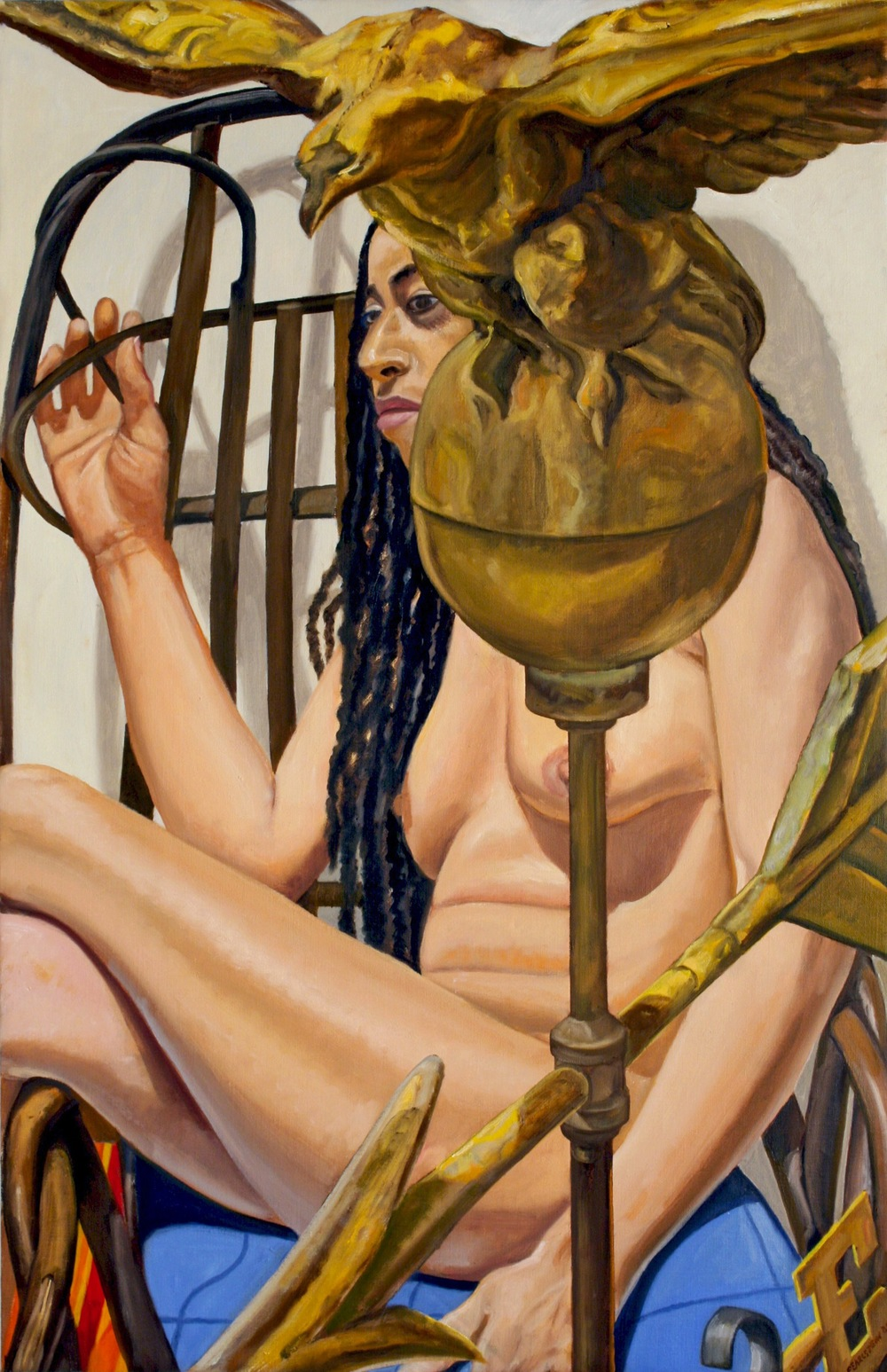 MODEL WITH AMERICAN EAGLE WEATHERVANE #4 , 2009 Oil on canvas 34 x 24 inches