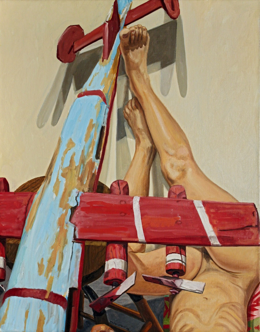 MODEL WITH WHIRLIGIG WAR PLANE , 2009 Oil on canvas 28 x 22 inches
