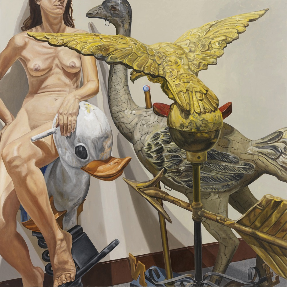 MODEL WITH OSTRICH, EAGLE AND DUCK  ,  2009 Oil on canvas 60 x 60 inches
