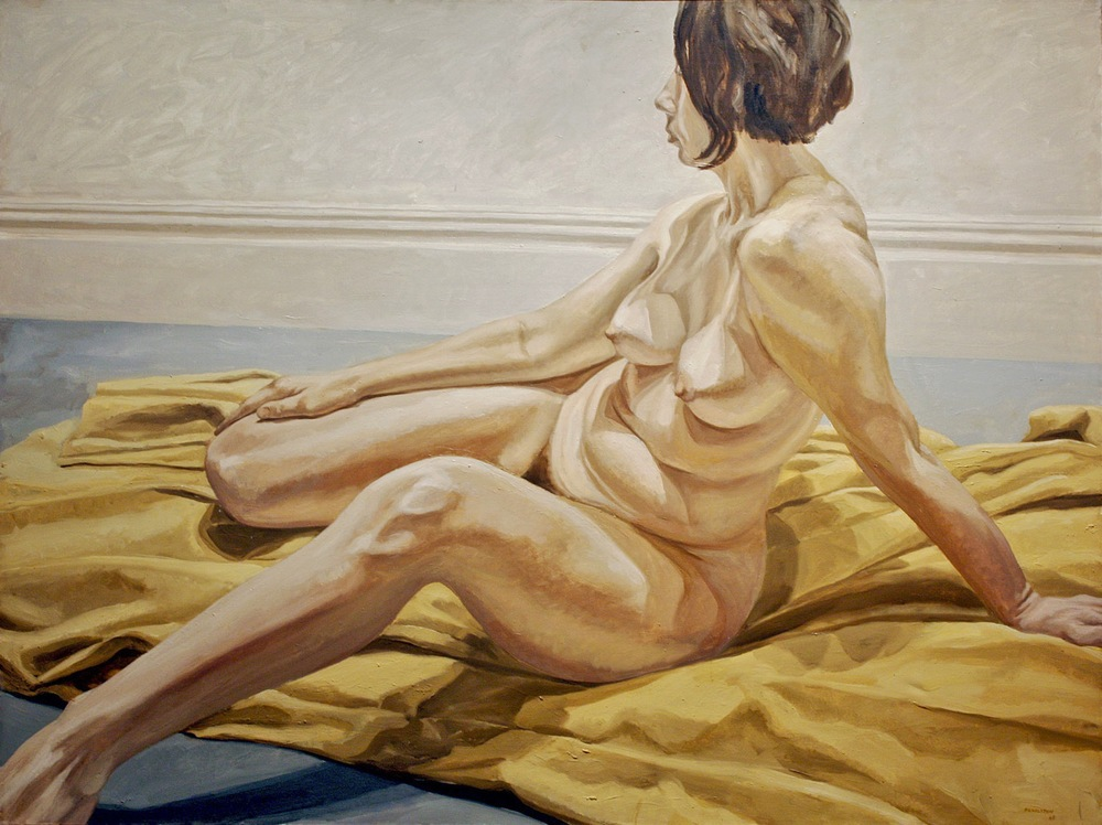 Female Nude on Yellow Drape , 1965  Oil on canvas 53 3/4 x 72 inches