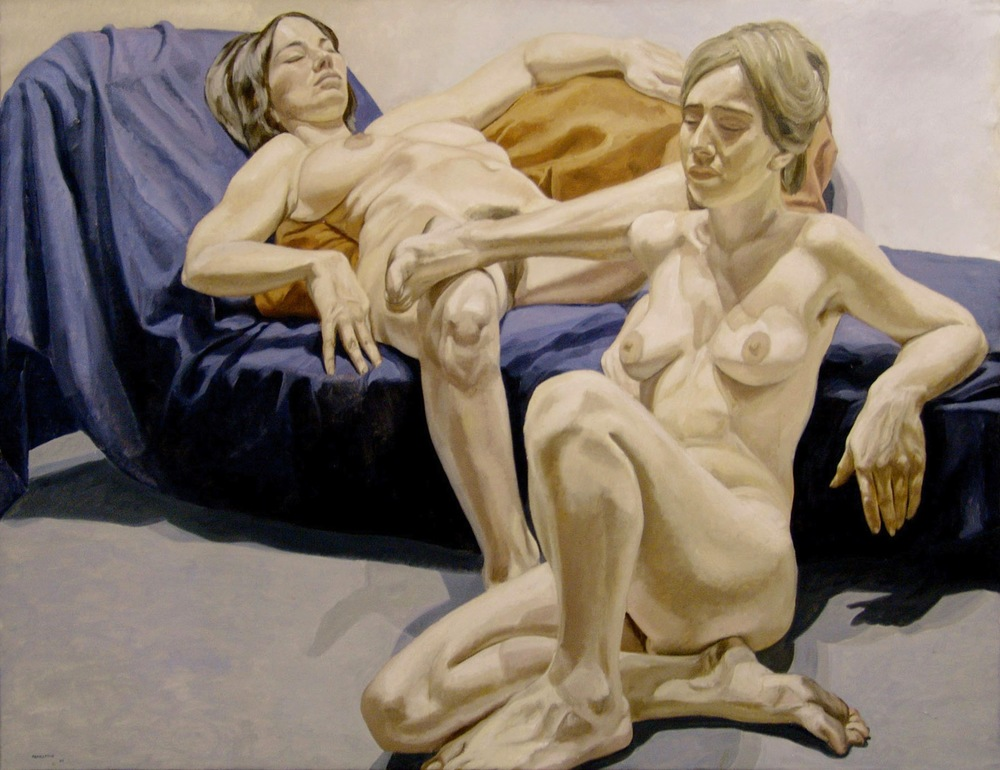 Two Nudes and Couch , 1965 Oil on canvas 59 1/4 x 76 3/4 inches