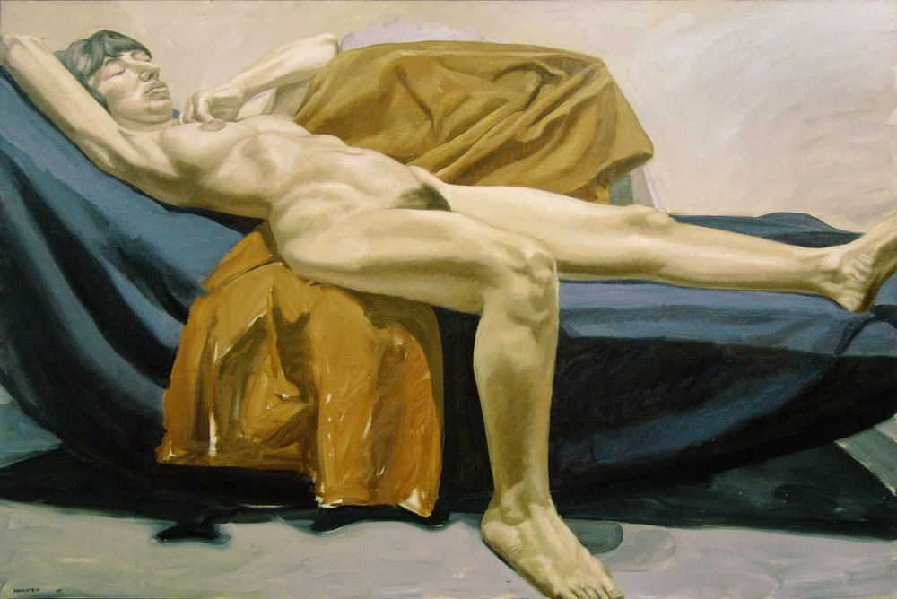 Reclining Nude on Purple Drape , 1965 Oil on canvas 40 x 60 inches