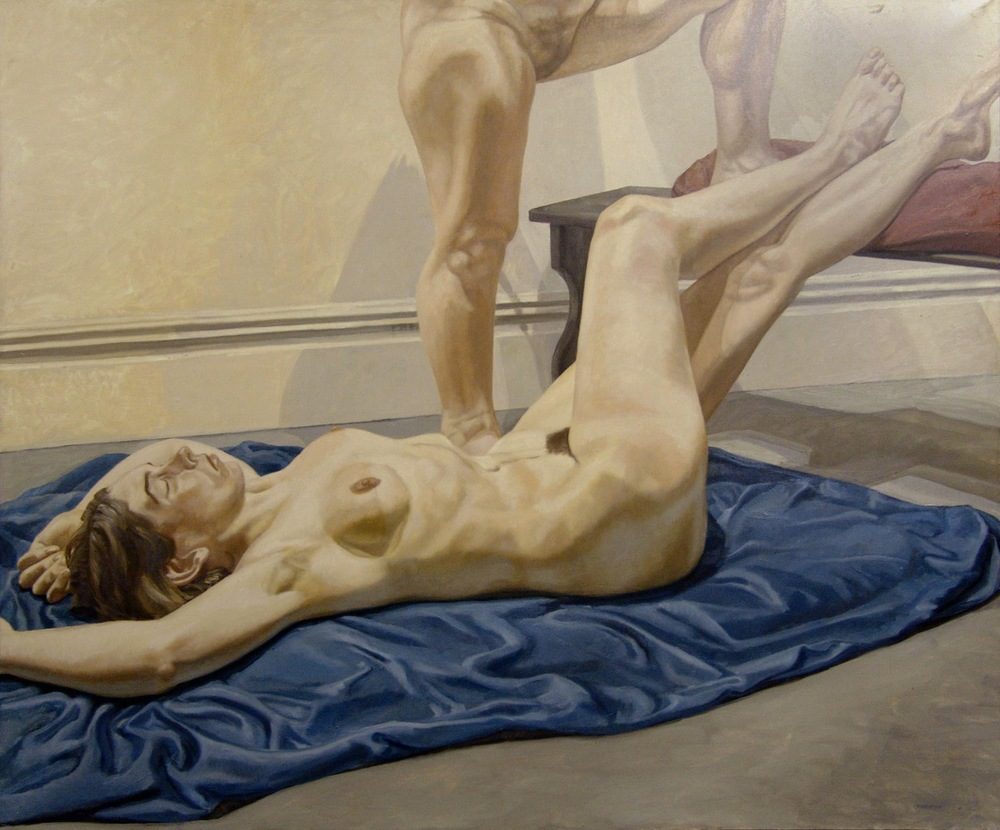 Two Models with Blue Drape , 1967 Oil on canvas 60 x 72 inches