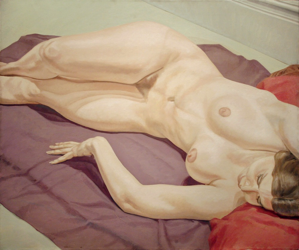 Lying Female Nude on Purple Drape , 1968  Oil on canvas 40 1/4 x 48 inches