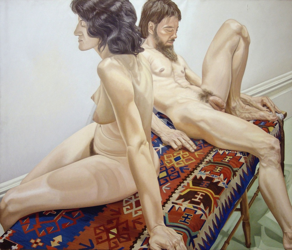 Male and Female Models on Bench  ,  1975 Oil on canvas 58 5/8 x 76 3/4 inches