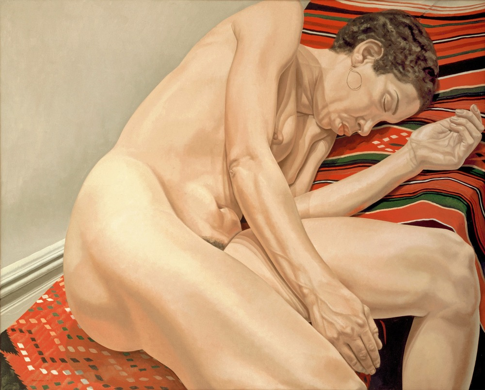 FEMALE MODEL RECLINING ON INDIAN RUG  ,  1974 Oil on canvas 48 x 60 inches