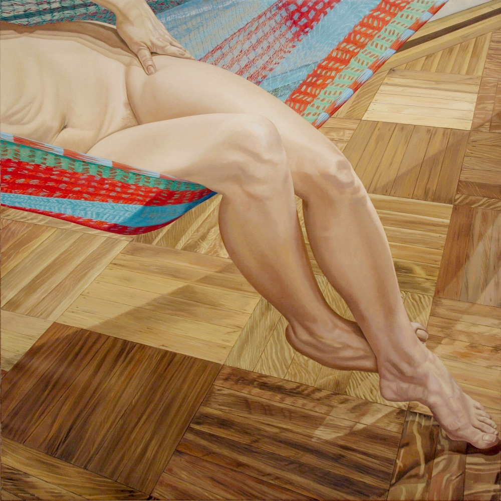 Model in Hammock, Legs  ,  1981 Oil on canvas 60 x 60 inches