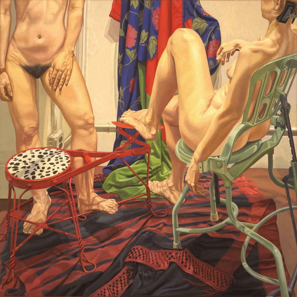 Two Models With Shoeshine Stool and Examination Chair , 1986 Oil on canvas 72 x 72 inches