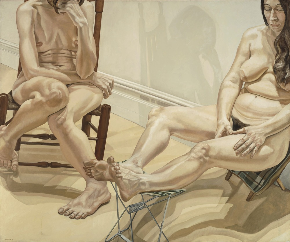 Two Nudes with Camp Chair , 1969 Oil on canvas 60 3/8 x 72 1/2 inches