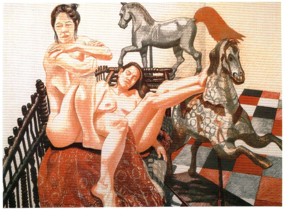 1992, Models and Horses, 1992, Lithograph, 28x20.5.jpg