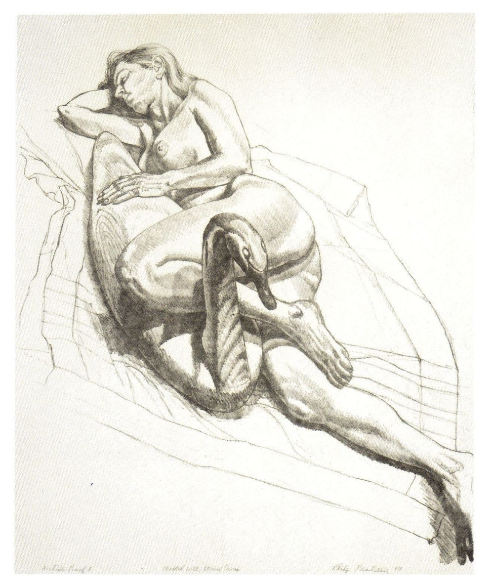 1987-88, Model with Wooden Swan, 1987-88, Lithograph, 21.5x18.jpg