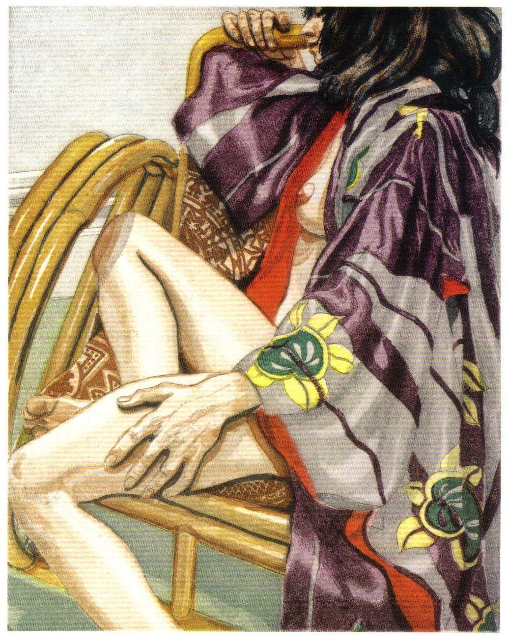 1982, Seated Nude in Kimono, 1982, Etching.jpg