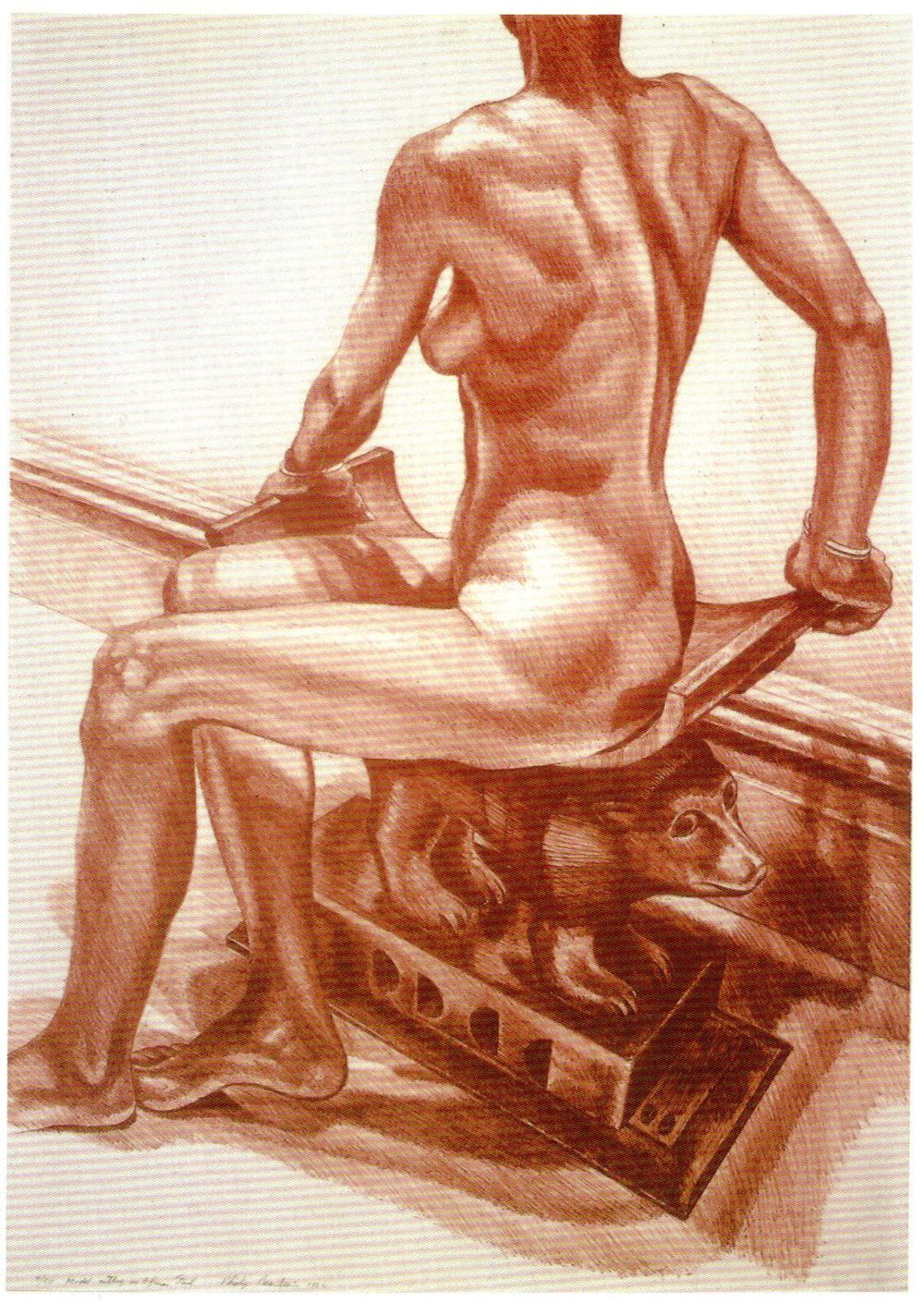 1982, Seated Model on African Stool, 1982, Lithograph, 29.75x21.jpg
