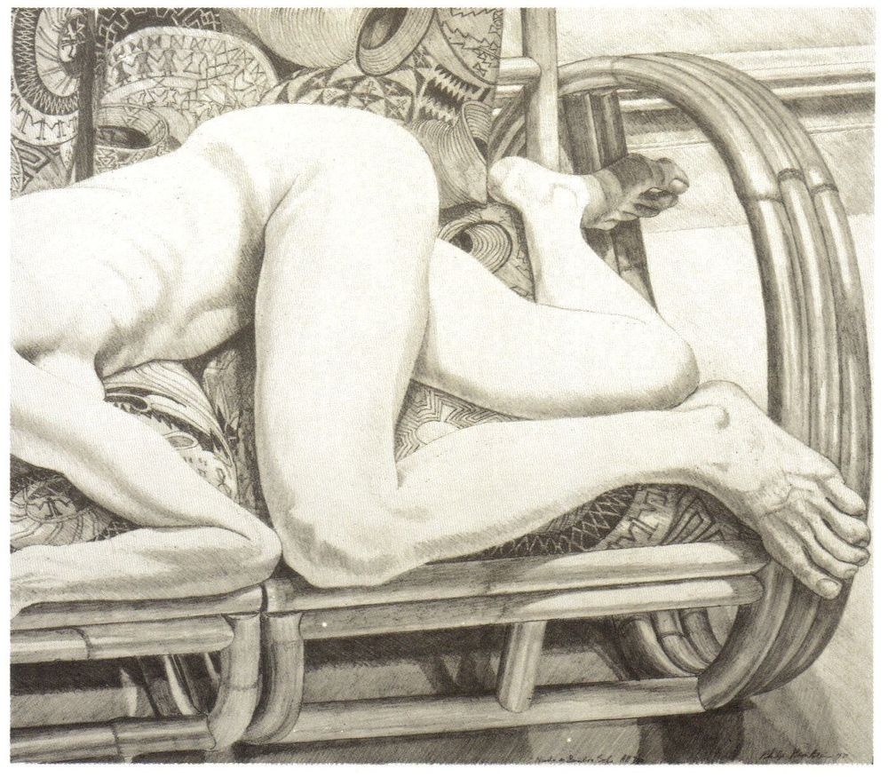 1981, Nude on Bamboo Sofa, 1981, Lithograph, 21x24.jpg
