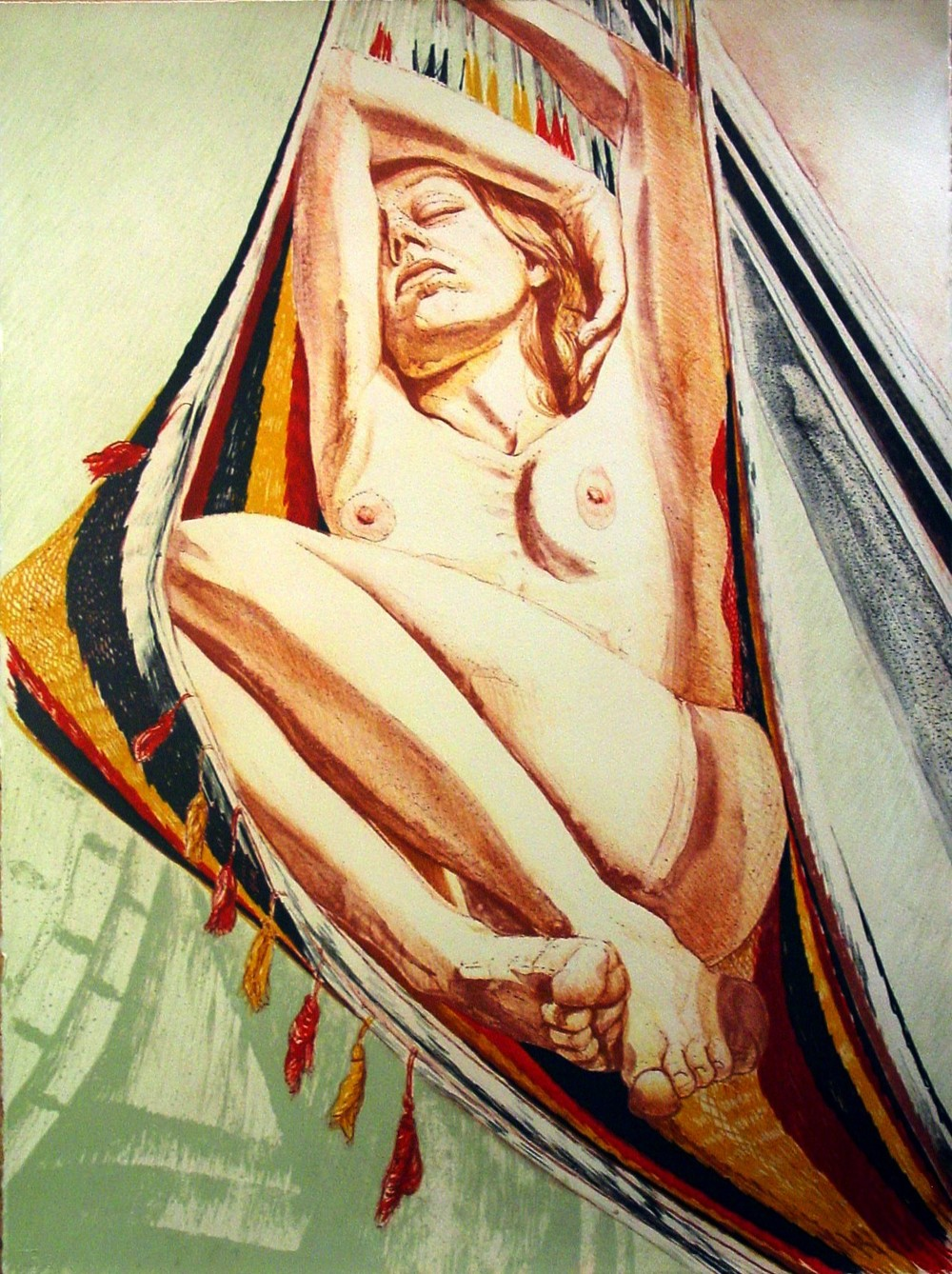 1978, Philip Pearlstein, Girl on Hammock, 1978, Color Lithograph.JPG