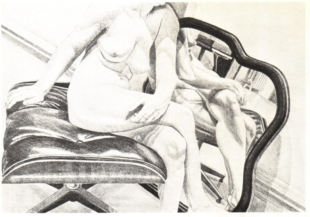 1977, Nude on Eames Stool (with Mirror), 70.5x49.9, color lithograph.jpg