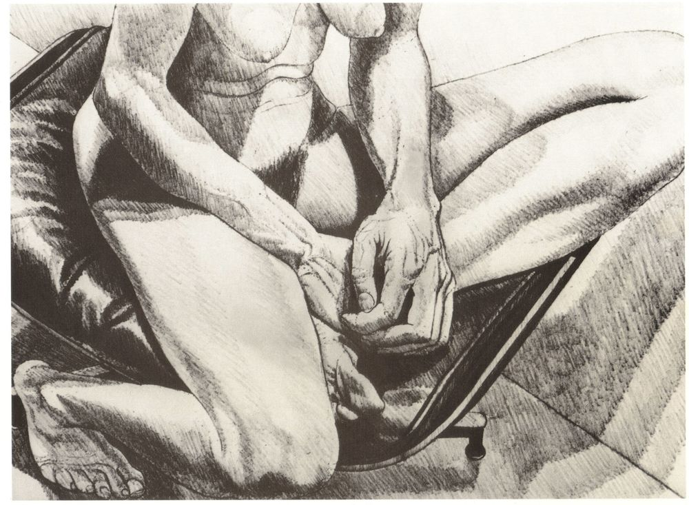 1977, Nude on Eames Stool, Lithograph, 11x15, 1977.jpg