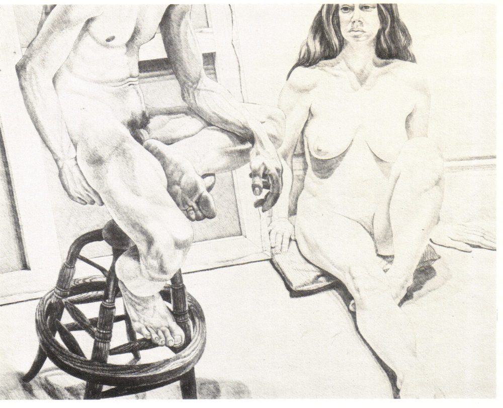 1976, Two Nudes on Oak Stool and Canvas, 73.7x93.4 cm, Lithograph.jpg