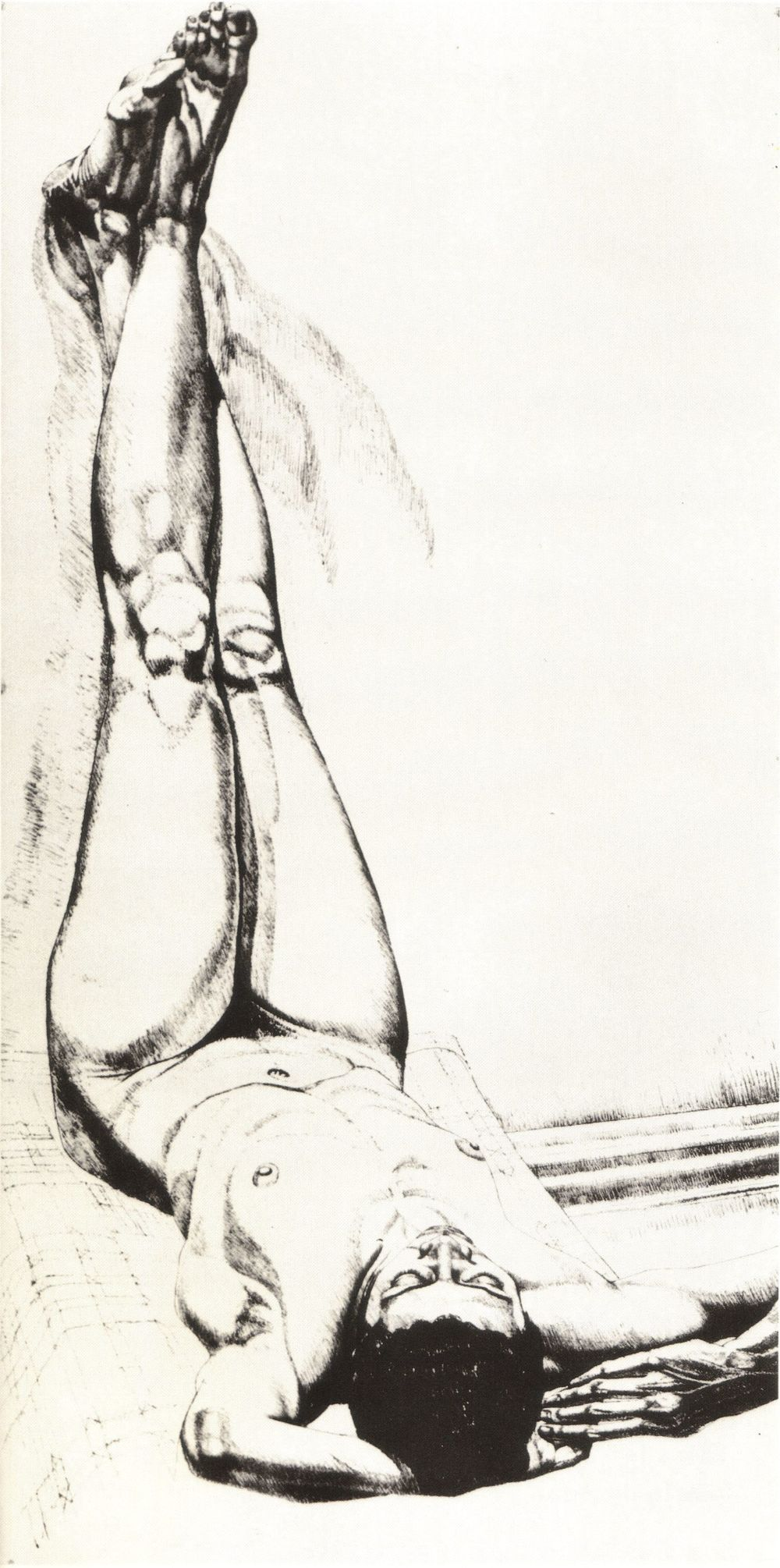 1976, Female Nude with Legs Up, Lithograph, 28.75x14.25, 1976.jpg
