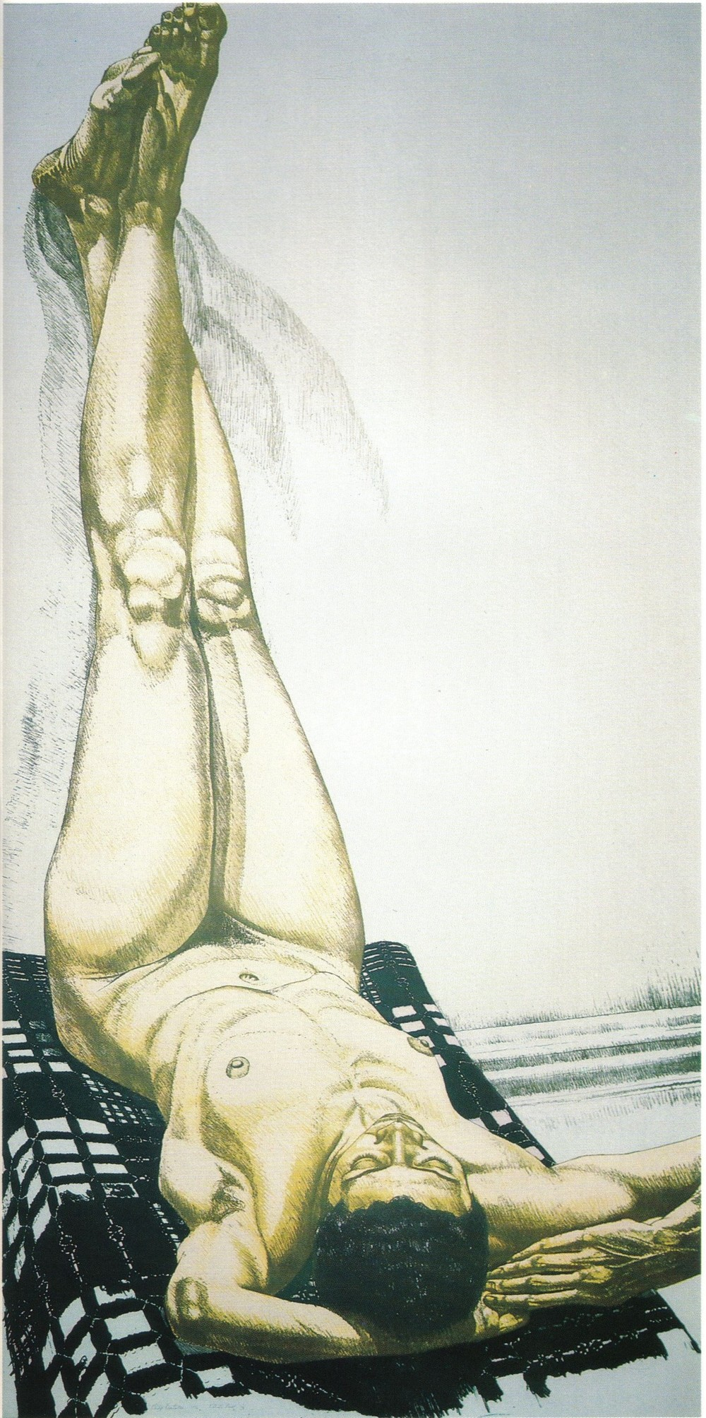 1976, Female Nude with Legs Up, Color Lithograph, 28.375x14.25, 1976.jpg