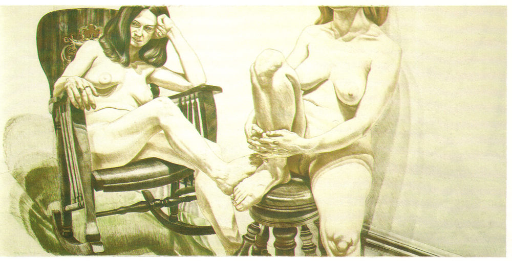 1975, Two Female Models on Rocker and Stool, 91.5x188 cm, color lithograph.jpg