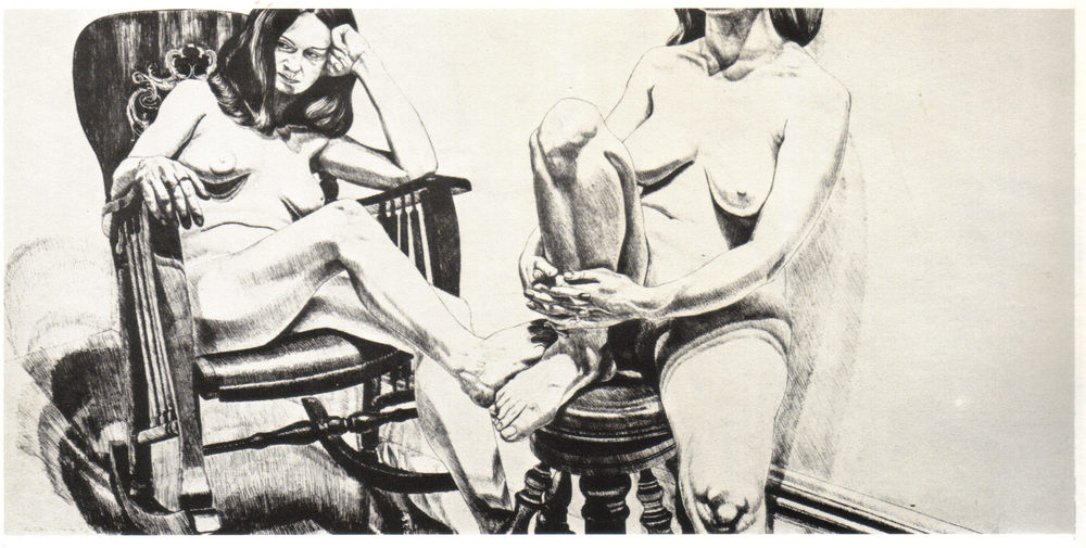 1975, Two Female Models on Rocker and Stool, 91.5x188 cm, lithograph.jpg
