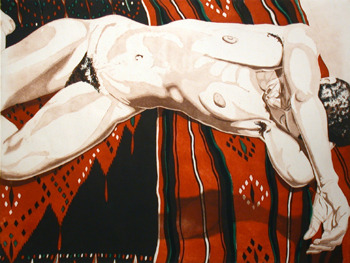 1974, Nude Lying on Black and Red Blanket, 1974..jpg